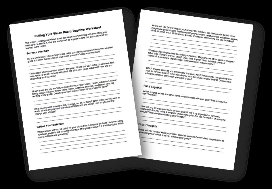 Putting Your Vision Board Together Worksheet