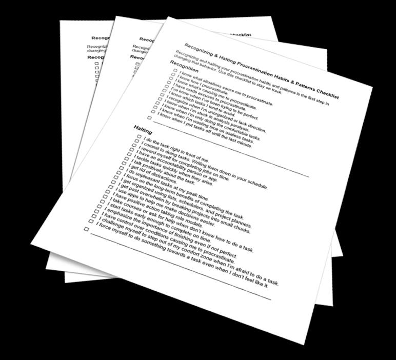 Halting Procrastination Habits Checklist