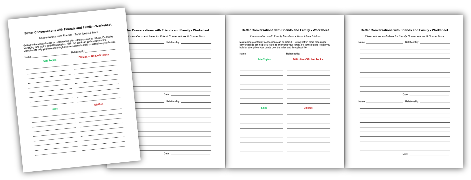 Better Conversations with Friends Worksheet