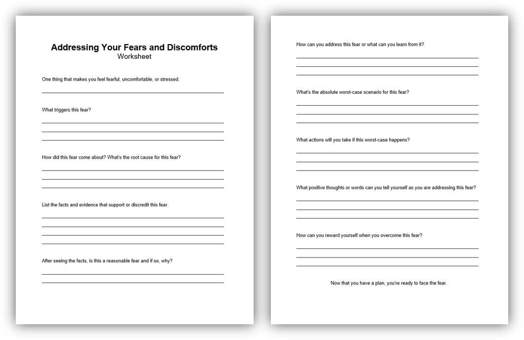 2-Worksheet Addreessing Your Fears and Discomforts