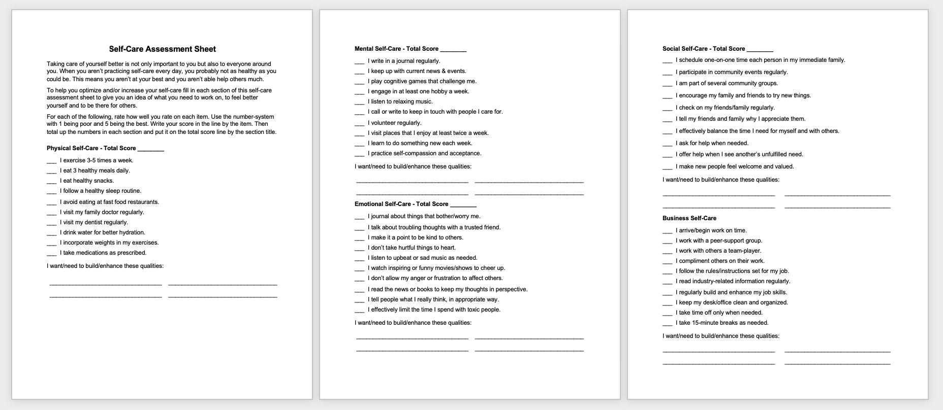 Free Self-Care Assessment Worksheet