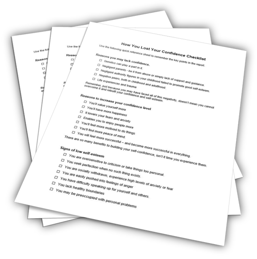 How You Lost Your Confidence Checklist PLR