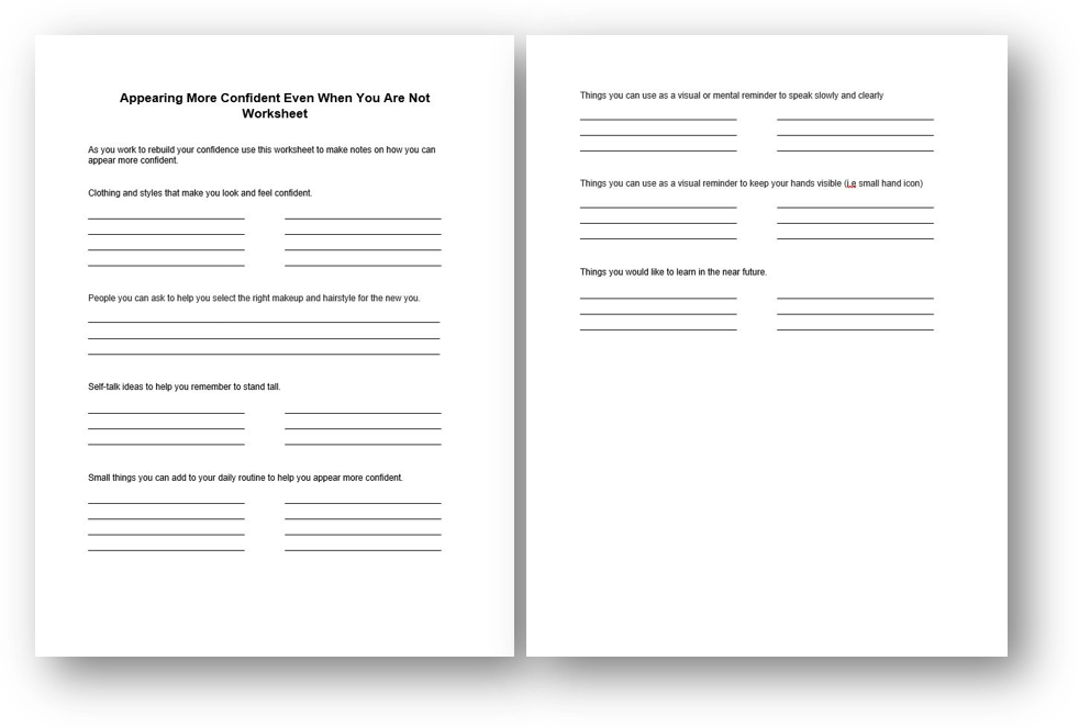 Appearing More Confident Worksheet
